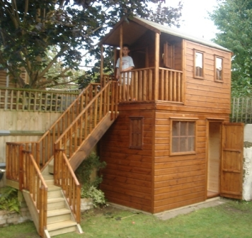 Wooden Playhouse With Storage Shed Underneath Playhouses