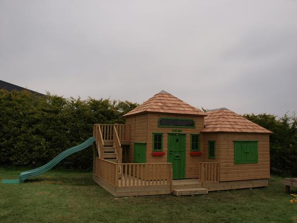 Large Wooden Playhouse with Slide