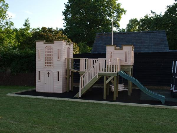 Linear view of childrens play castle with look out tower