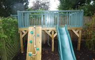 Play platform with slide & climbing wall with knotted rope