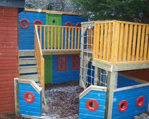 Two storey boat playhouse
