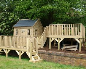 Wooden Garden Playhouse with platforms