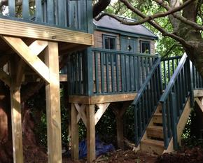 Tree House with external staircase and multi level platforms